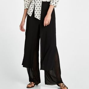 Skirt style pants with slits